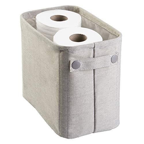 mDesign – Elegante organizador de tela de algodón para papel higiénico (pequeño) – Organizador de revistas de color gris claro – Cesta para el baño y para el salón