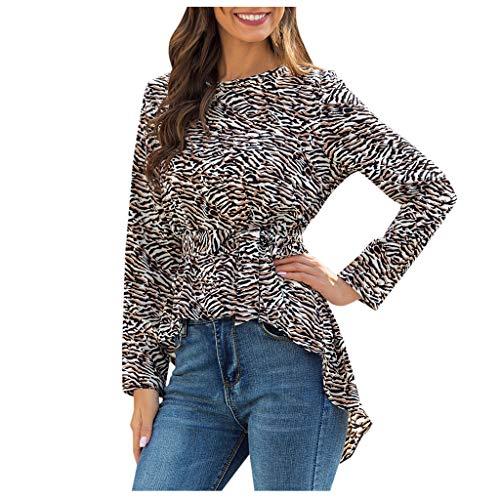Dasongff dames blouse luipaardtuniek tops lange mouwen O-hals shirts & overhemden elegant onregelmatig longshirt High Waist bovenstuk met riem Large koffie