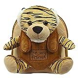 PERLETTI Kuscheltier Rucksack für Kinder mit Tiger Plüschtier - Pluschspielzeug Weich Flauschig Kindergarten Schultasche mit Tasche für Plüsch Tier - 2/5 Jahren Baby Kindertasche 27x21x9 cm (Tiger)