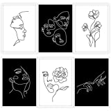 Whaline 6 Pack Abstract Line Art Poster Waterproof Minimalist Wall Art Prints Modern Black White Female Face Aesthetic Art Drawing Paintings for Bedroom Living Room College Dorm, 9.72 x 13.82'