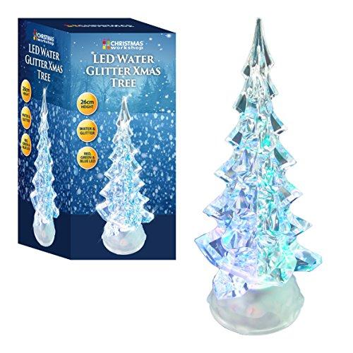 The Christmas Workshop a batteria LED cambia colore acrilico acqua glitter albero di Natale, bianco