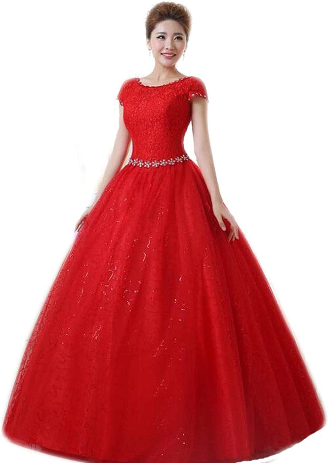 Bride Wedding Wedding Dress Spring and Summer Shoulder Lace Large Size Slim Slim Pregnant Women Qi Lace Thin Dress Host Dress (color   Red, Size   XL)