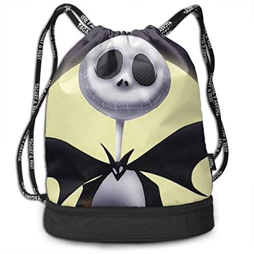 Lawenp Jack Skellington Fashion Unisex Solid Storage Bag Sporting Traveling & Hiking Backpack Drawstring Bundle Pocket