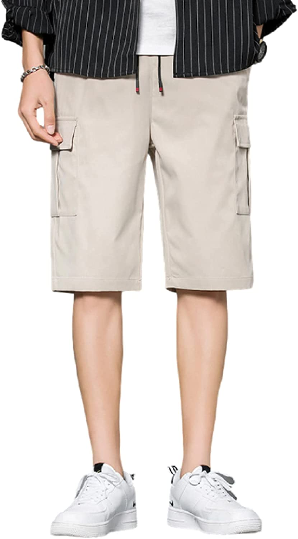 Katenyl Men's Straight Cargo Shorts Fashion Splicing Big Pockets Streetwear Loose