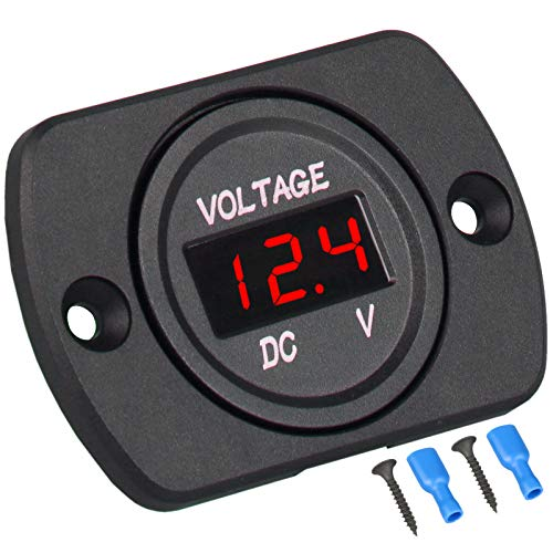 Linkstyle DC 12V 24V Car Voltmeter with LED Digital Display Panel, Waterproof Voltage Gauge Meter with Terminals for Boat Marine Vehicle Motorcycle Truck ATV UTV Car with Red Light
