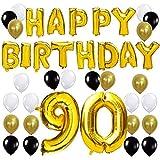 KUNGYO Letras Tipo Balón Doradas Happy Birthday+Número 90 Mylar Foil Globo+24 Piezas Negro Oro Blanco Globo de Látex 90 Años de Antigüedad Fiesta de Cumpleaños Decoraciones