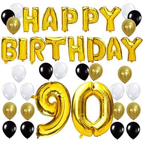 KUNGYO Happy Birthday Buchstaben Ballons +Nummer 90 Mylarfolie Ballon + 24 Stück Schwarzes Gold Weiß Luftballons -Perfekte 90 Jahre alte Geburtstagsfeier Dekoration Lieferungen