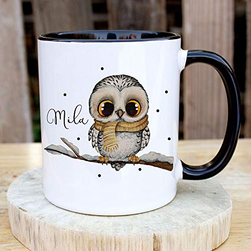 ilka parey wandtattoo-welt Tasse Becher Eule Eulchen auf AST Zweig Motiv mit Wunschname Name individuell Kaffeebecher Kaffeetasse Geschenk ts1082 - ausgewählte Farbe: *schwarz-weiß*
