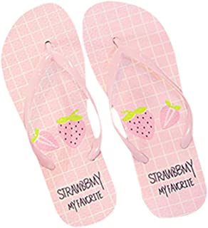 Flyme Flip Flop Sandals Strawberry Girls Plate Thongs Slippers Anti Slip Slippers for Beach Bathroom