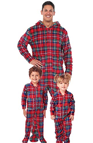 Alexander Del Rossa Men's Warm Fleece One Piece Footed Pajamas, Adult Onesie with Hood, Large Blue Red and Green Christmas Plaid (A0320Q19LG)