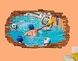 Etiqueta De La Pared Piscina Waterpolo Etiqueta De La Pared Efecto 3D Póster Artístico Decoración De La Habitación Calcomanía Mural