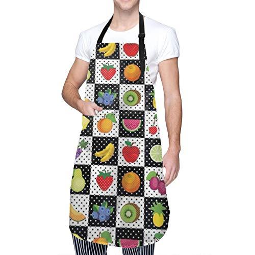 COFEIYISI Delantal de Cocina Cocina Frutas y verduras Naturaleza con puntos Ajedrez Cuadrados Diseño de arte Delantal Chefs Cocina para Cocinar/Hornear