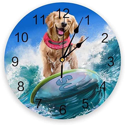BINGTANGXUELI Co.,ltd Reloj De Pared Reloj De Pared Circular Perro Mar Surf Tabla De Surf Reloj De Pared Hogar Dormitorio Reloj Silencioso Pared para Sala De Estar-30X30Cm