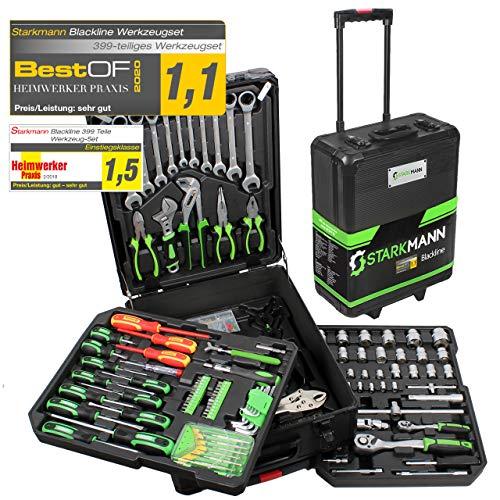 STARKMANN Blackline 399tlg. Premium Werkzeugkoffer Werkzeug Box Kasten im abschließbaren Alu Trolley
