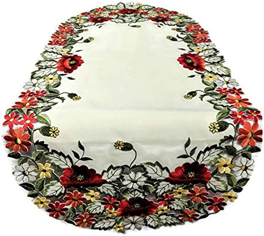 Table Runner With Red Poppy Flowers On Antique White Fabric Size 70 X 15 Inches