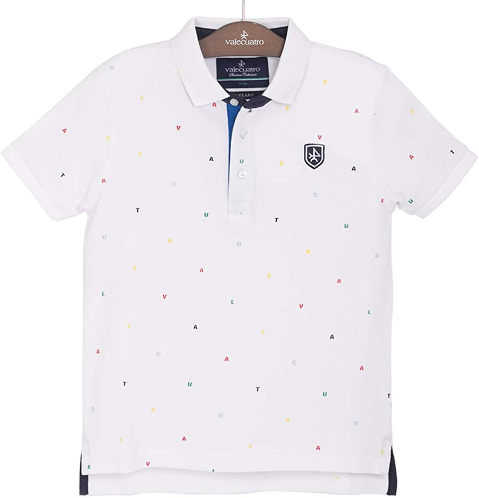 Classic Fitted Polo Shirt for Boy Toddler with Printed Pattern, 100% Cotton - Valecuatro