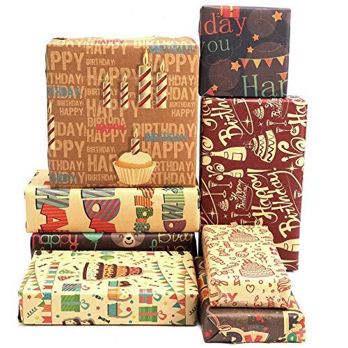 AUXSOUL 8 piezas de Papel de Regalo de Cumpleaños, Papel de Regalo Decorativo, el Mejor Papel de Regalo para Regalos de Cumpleaños para Familiares, Amigos y Colegas(50 * 70cm)