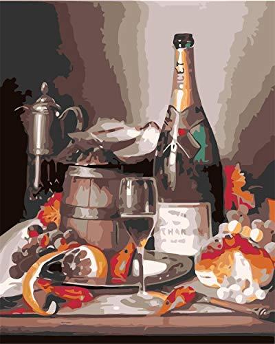 Pintura por Números para Adultos con Pinceles y Pinturas Decoraciones para el Hogar -vino(16×20 Pulgadas,Sin Marco)
