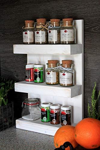 Dekorie Gewürzregal aus Holz - für die Wand oder stehend - Vintage Weiß - 3 Stellflächen - 48 x 29 x 12 cm - Massivholz