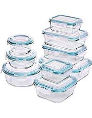 KICHLY - Glas Voedselopslag Container Set - 18 Stuks (9 Containers en 9 Deksels) - Transparante Deksels - BPA vrij