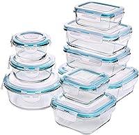 set di contenitori per alimenti in vetro - 18 pezzi (9 contenitori + 9 coperchi) coperchi trasparenti - senza bpa - per cucina domestica o ristorante - di kichly