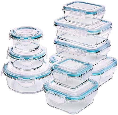 Récipient En Verre - Boîtes Alimentaires - 18 pièces (9 récipients + 9 couvercles) - Couvercles Transparents - Sans BPA - Pour la cuisine ou le restaurant - par KICHLY