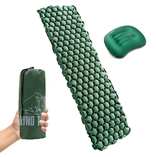 Ryno Tuff Ultralight Sleeping Pad Set - Large, Wide, Tough, Waterproof and Durable Yet Lightweight and Compact, Travel Pillow Included - Sleeping Mat for Camping, Hiking or Backpacking