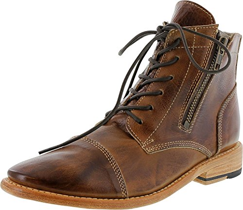 Bed|Stu Bonnie Women's Distressed Leather Lace Up Boot - Short Combat Ankle Bootie, Size 8.5, Tan Rustic