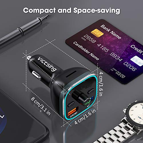 VicTsing FM Transmitter for Car Bluetooth 5.0 Version, 6 Color Ambient RGB Lighting Choices FM Transmitter, (5V/3A) QC3.0 Quick Charge, Hi-Fi Wireless In-Car Radio Adapter with Hands-free Calling, Dual USB Charge Ports, U Disk/TF Card Supported