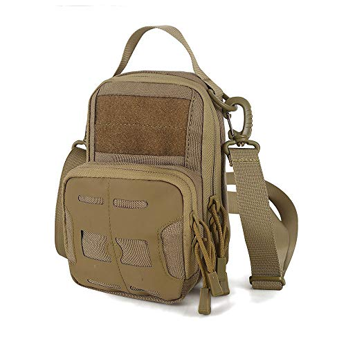BAIGIO Taktisch Molle Tasche Klein Gürtel Tasche Beutel Multifunktion EDC Zubehörtasche für Handy Werkzeug Medizin (Braun)