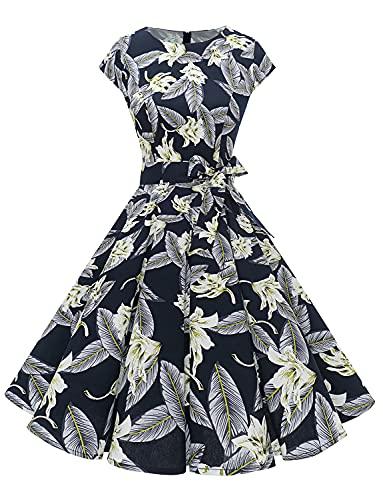 """Dressystar DS1956 Kleid \""""Audrey Hepburn\"""", klassisch, Vintage, 50er und 60er Jahre Stil mit Ärmeln, Navy Blue Flower, Small"""