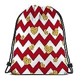 Mochila de Cuerdas Bolsa de Cuerda rojo blanco geométrico zig zag dorado tti corazones símbolo amor día de san valentín feriado zigzag soñador 36X43CM