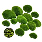 AMACOAM Imitación Jardines Piedras Artificiales Decorativas Piezas Musgo Verde Simuladas Musgo...