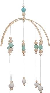 Cozyhoma Clochettes de lit pour bébés, mobile musical pour berceau de bébés, avec perles en bois, carillon rotatif à suspe...