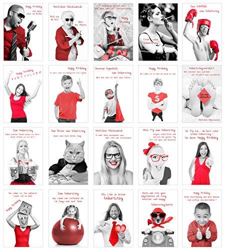 Edition Seidel Set exklusive Premium Geburtstagskarten mit Umschlag und Sprüchen. Glückwunschkarte Grusskarte Geburtstag Spruch. Geburtstagskarte Postkarte Postkarten Happy Birthday