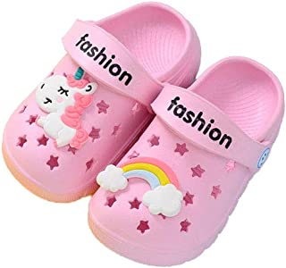 Hopscotch Girls EVA Text Print with Unicorn Applique Clogs in Pink Color