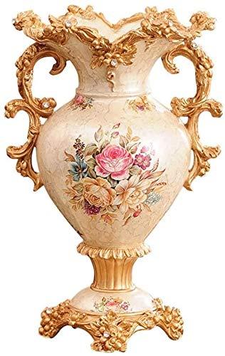 Europeo retro resina gran jarrón sala de estar sala de estar mesa de mesa oficina hotel decoración casero pintado a mano jarrón decorativo alto,A