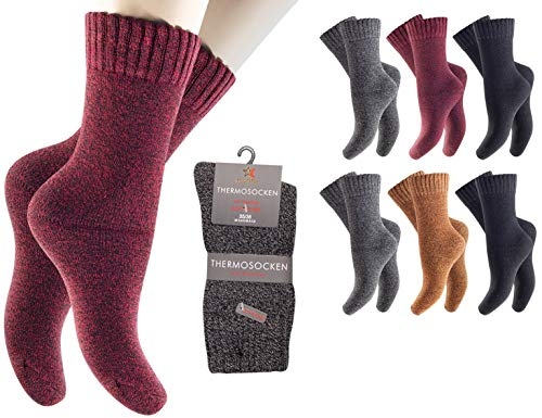 feelzone 6 Paar Damen Thermo Socken Wintersocken mit Vollfrottee & Softbund warm und weich (39-42, rot grau schwarz)