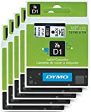 DYMO Standard D1 Labeling Tape for Labe lManager Label Makers, Black Print on White Tape, 1/2' W x 23' L, 1 Cartridge (45013) 5 Pack
