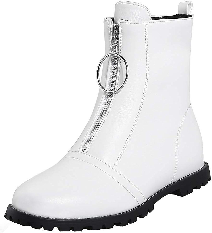 Ghapwe Woherrar Casual Casual Casual Round Toe Solid Färg Flat kort stövlar with Zipper svart 8 M US  senaste stilar