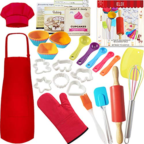 Real Kids Baking Set Pastry Cooking Kit Supplies Includes Kids Apron,Chef Hat,Oven Mitt,Rolling Pin,Real Baking Tools and Recipes Great Gift for Curious Beginners Iowa