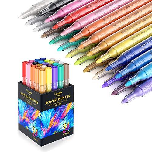 Honmax Acrílico Pintura Rotulador, 24 Colores Rotuladores Acrilicos Permanente, Marcadores para Pintura de Tela, Cristal, Metal, Ceramica, Madera, Piedras, Plastico, Porcelana