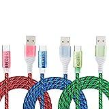 SN-RIGGOR Lot de 3 câbles de chargement USB de type C à chargement rapide - 3 A - Brillent dans le...