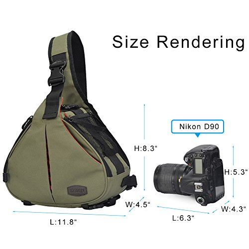 CADeN Camera Bag Sling Backpack Camera Case Waterproof with Rain Cover Tripod Holder, Compatible for DSLR/SLR Mirrorless Cameras (Canon Nikon Sony Pentax) and Accessories Green