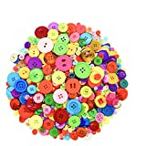 500-700 Pcs Mixed Color Assorted Sizes 2 and 4 Holes Round Resin Buttons DIY Crafts for Children's Manual Button Painting and Sewing
