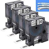 Invoker–Etiquetas industriales compatible para usar en lugar de Dymo Rhino 18053 Tubos Termoencogibles 3/8'x 5 pies (9mmx1,5m),para DYMO Rhino 4200,5000,5200,6000,RhinoPro,Negro sobre blanco,pack de 4