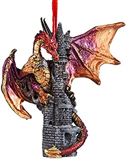 Christmas Tree Ornaments - Zanzibar the Gothic Dragon on Castle Holiday Ornament - Dragon Statue