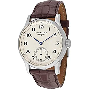 Longines Mens Stainless Steel Watch with Brown Leather Strap L26404785