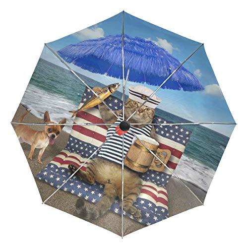 Wamika Regenschirm für Katzen, mit Bier, geräucherter Fisch, Winddicht, wasserdicht, UV-Schutz, 3-Fach faltbar, automatischer Öffnung/Schließknopf, für Sonne und Regen