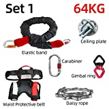 MYSdd New Professional Yoga Bungee Fitness Equipment Complete Set Exercise Resistance Cord Belt Bungee Dance Rope Gravity Workout - Set 1 64KG Type